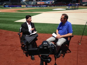 Author Neil A. Carousso (left) interviews Howie Rose, the radio voice of the Mets for an upcoming video feature.