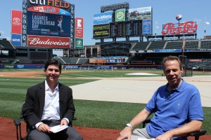 "Carousso (left) and Howie Rose, the radio voice of the New York Mets smile before an interview at Citi Field in Flushing, NY, parts of which will air on ""WRHU's 2nd Annual Hall of Fame Live Special with Neil A. Carousso"""