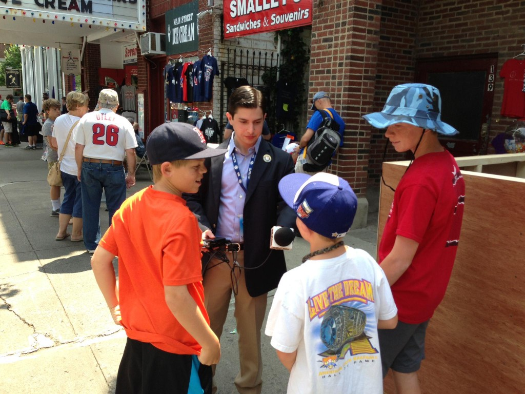 Carousso interviews young baseball fans  in Cooperstown.