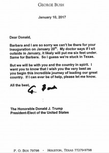 George H.W. Bush wrote a letter to then, President-elect Donald Trump ahead of the inauguration.