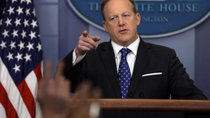 Press Secretary Sean Spicer takes questions from the press on Tuesday (Reuters/Carlos Barria)