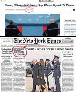 """The New York Times reported on January 20 that Trump aides were wiretapped. In March, they write Trump has citied """"no evidence."""""""