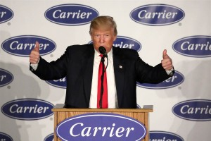 President Trump gives two thumbs up when embarking on his quest to renew American jobs and the American spirit  following the election. (NBC News photo from December 1, 2016 at Carrier's plant in Indianapolis, IN)