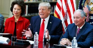 """President Trump meets with business leaders at a """"Strategic and Policy Forum"""" at The White House on Tuesday. (Reuters Photo)"""