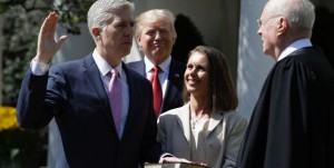 Justice Neil Gorsuch is sworn in as Associate Justice of the Supreme Court of the United States at The White House Rose Garden Associated Press Photo