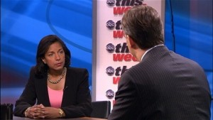 Former U.S. Ambassador to the U.N. Susan Rice appeared on all five Sunday news shows on September 16, 2012 pushing the Obama Administration's lie about the Benghazi attack. (ABC News)