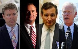 From left to right: Sen. Rand Paul, Sen. Mike Lee, Sen. Ted Cruz, Sen. Ron Johnson