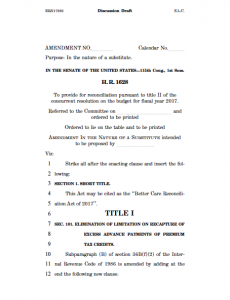 """The first page of the Senate's """"Better Care Reconciliation Act of 2017"""" has been published on the Senate Budget site."""