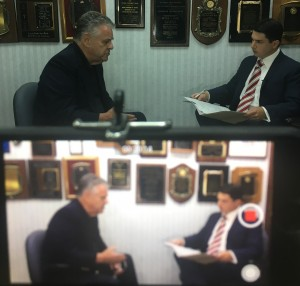 Neil A. Carousso interviews Rep. Peter T. King R-NY) at Congressman Kings district office in Massapequa Park, NY on August 24, 2017.