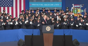 Rep. Pete King introduces President Donald Trump who gave remarks to local, state and federal law enforcement on the MS-13 gang threat to the Long Island community in Brentwood, NY on July 28, 2017. This reporter and Congressman King discuss the MS-13 gang threat on Long Island communities in detail. Screenshot: The White House/YouTube